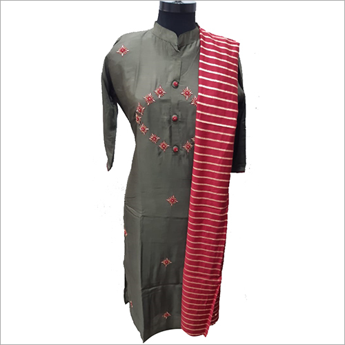 Ladies Modern Straight Kurti with Dupatta Set
