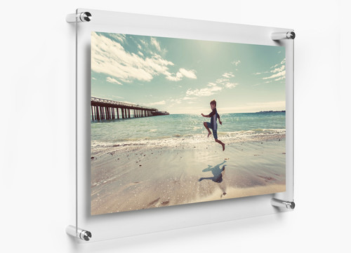 Rasper Acrylic Sandwich Frame, Acrylic Sandwich Sheet Board for Ads Poster Display (10x14 Inches) with 4 Studs for Wall Fixture