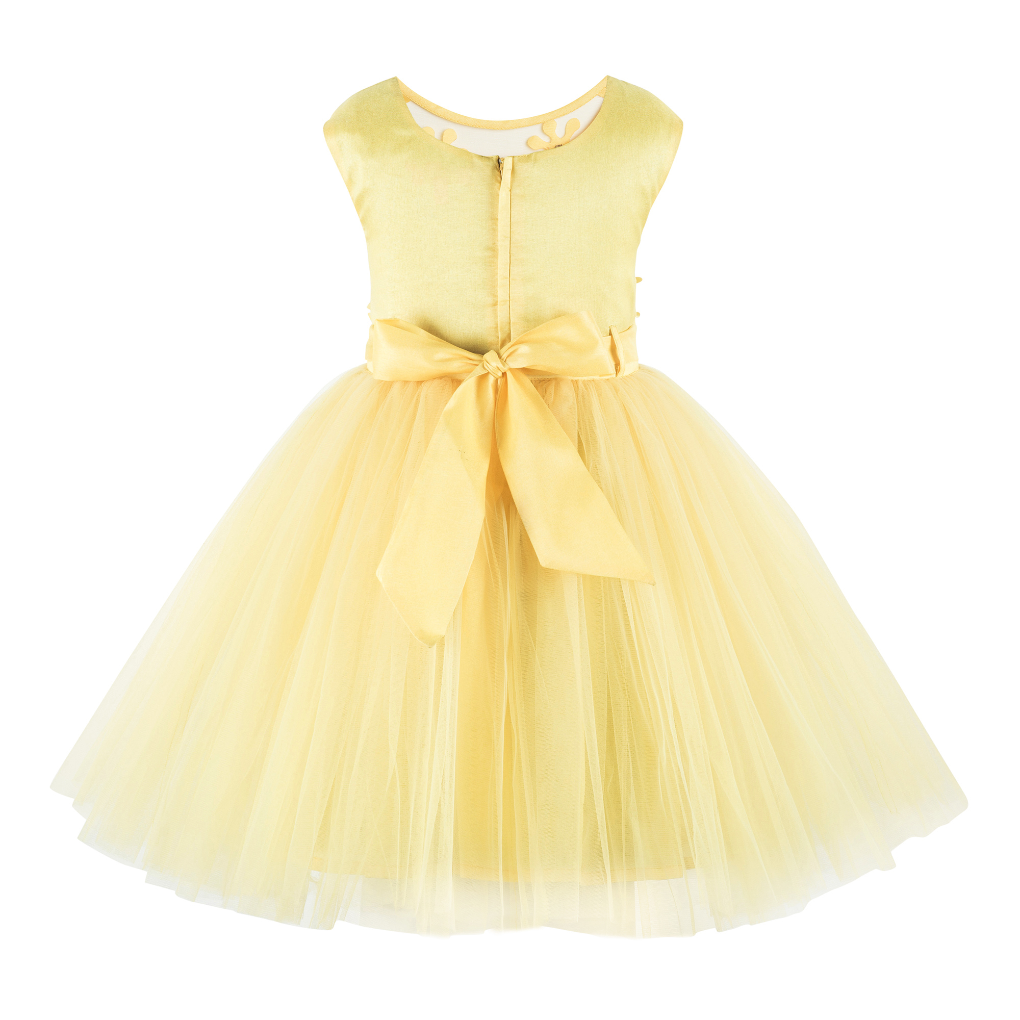 Flower Applique Yellow  Frock.