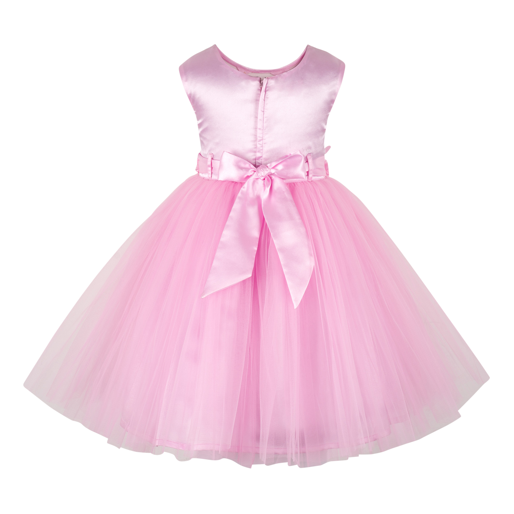 Butterfly Applique Baby Pink Knee Length Party  Frock