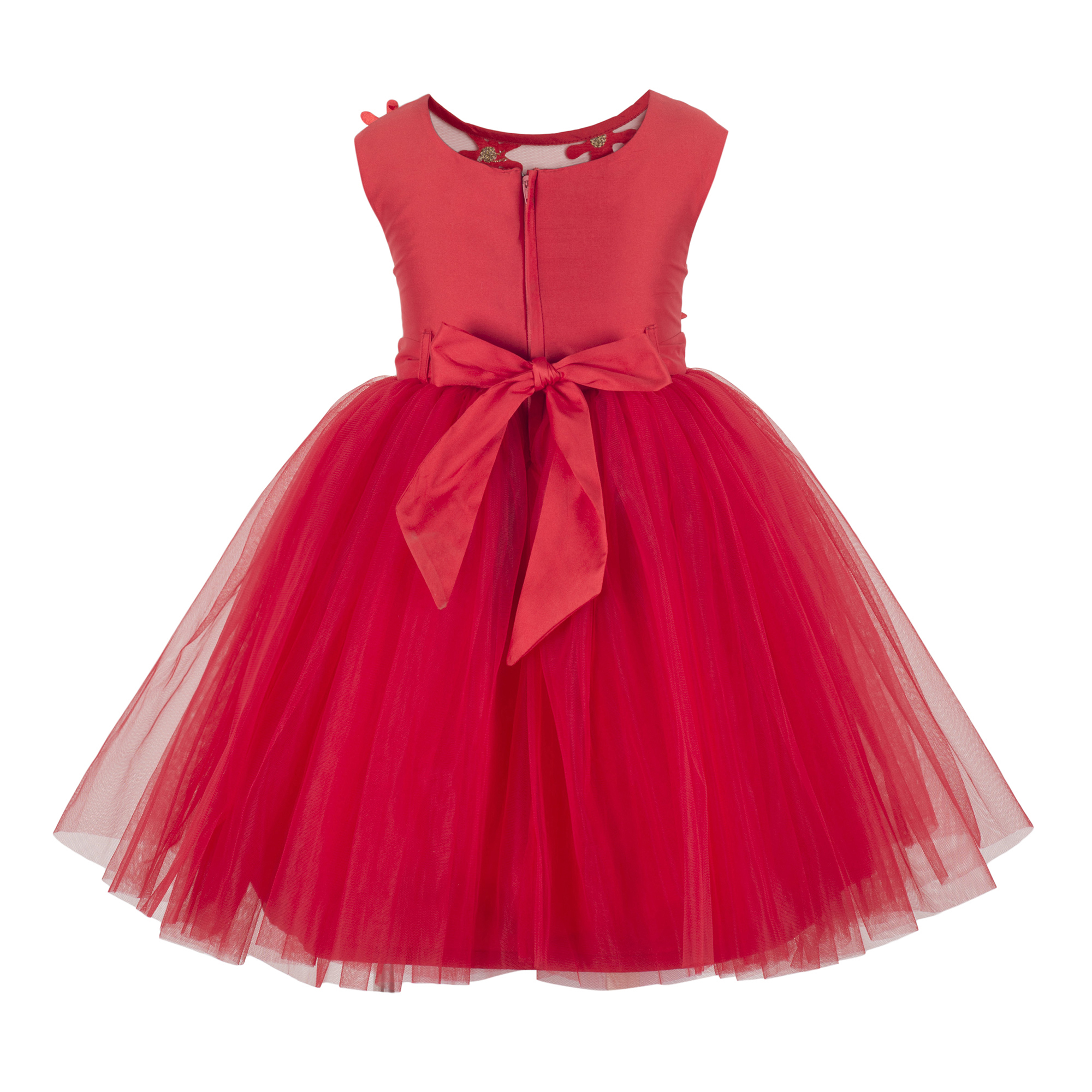 Applique Red Knee Length Party Frock