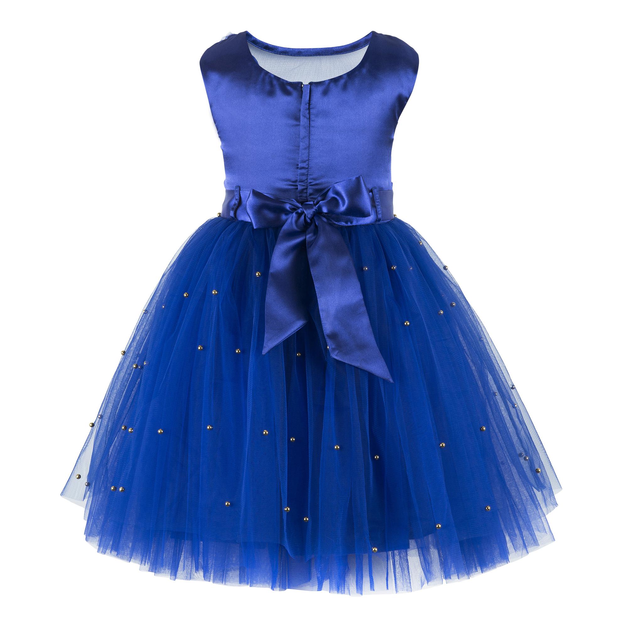 Embellished Blue Knee Length Party  Dress