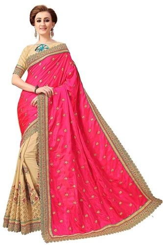 Embroidered Silk & Satin Saree