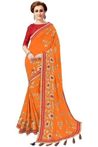 Embroidered Butta Work with Tassel Saree