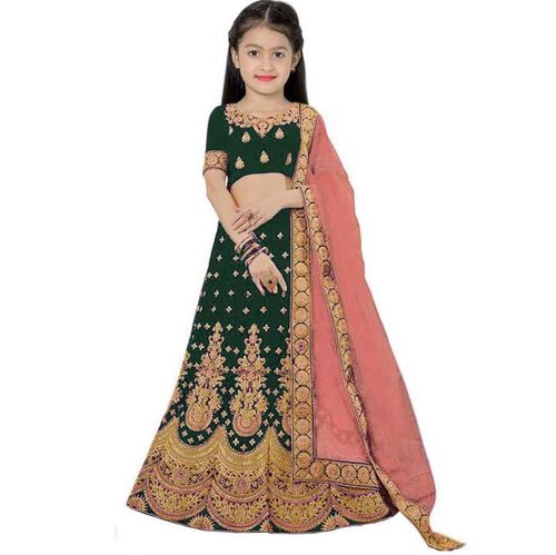 New taffeta satin embroidered work lehenga choli for girls (8-12year)