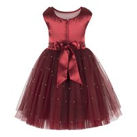Pearl Embellished Maroon Dress.