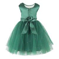 Pearl Embellished Green  Dress