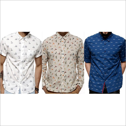 Mens Casual Printed Cotton Shirt