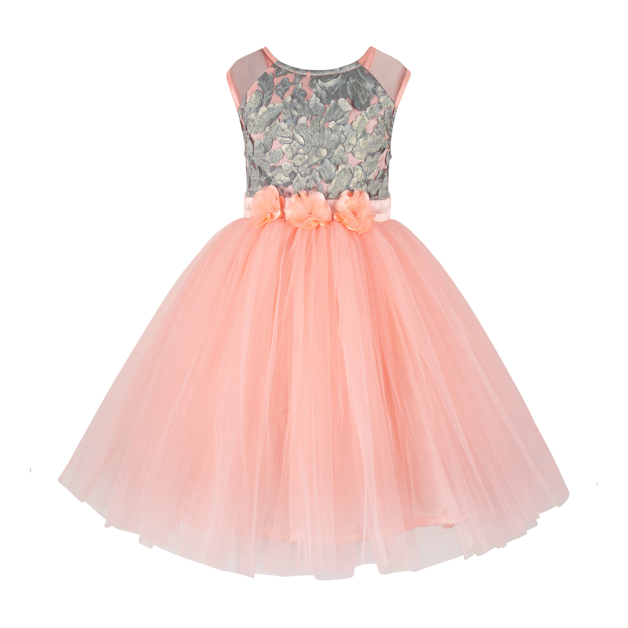 Sequins Embellished Peach Knee Frock.