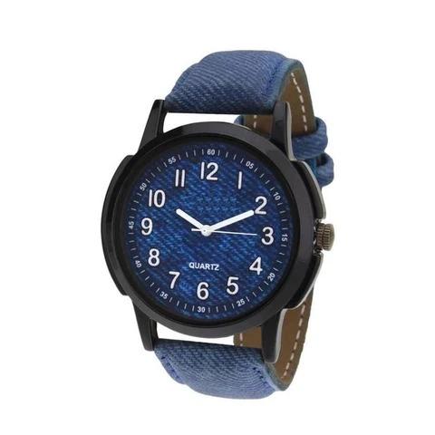 Wt1015- Unique & Premium Analogue Watch Dark Blue Dial Leather Strap (Blue dial)