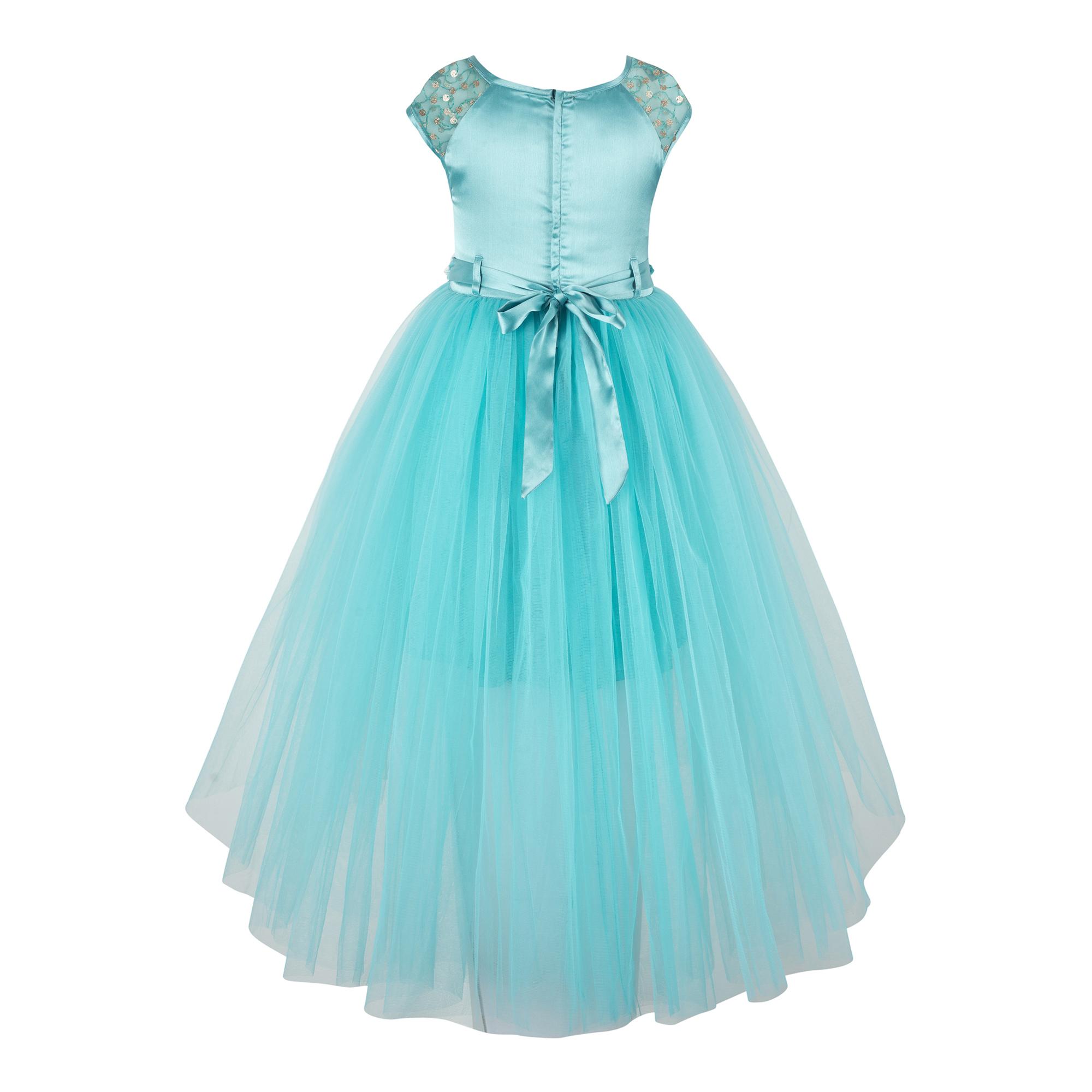Sequins Embellished Sky Blue  Dress.