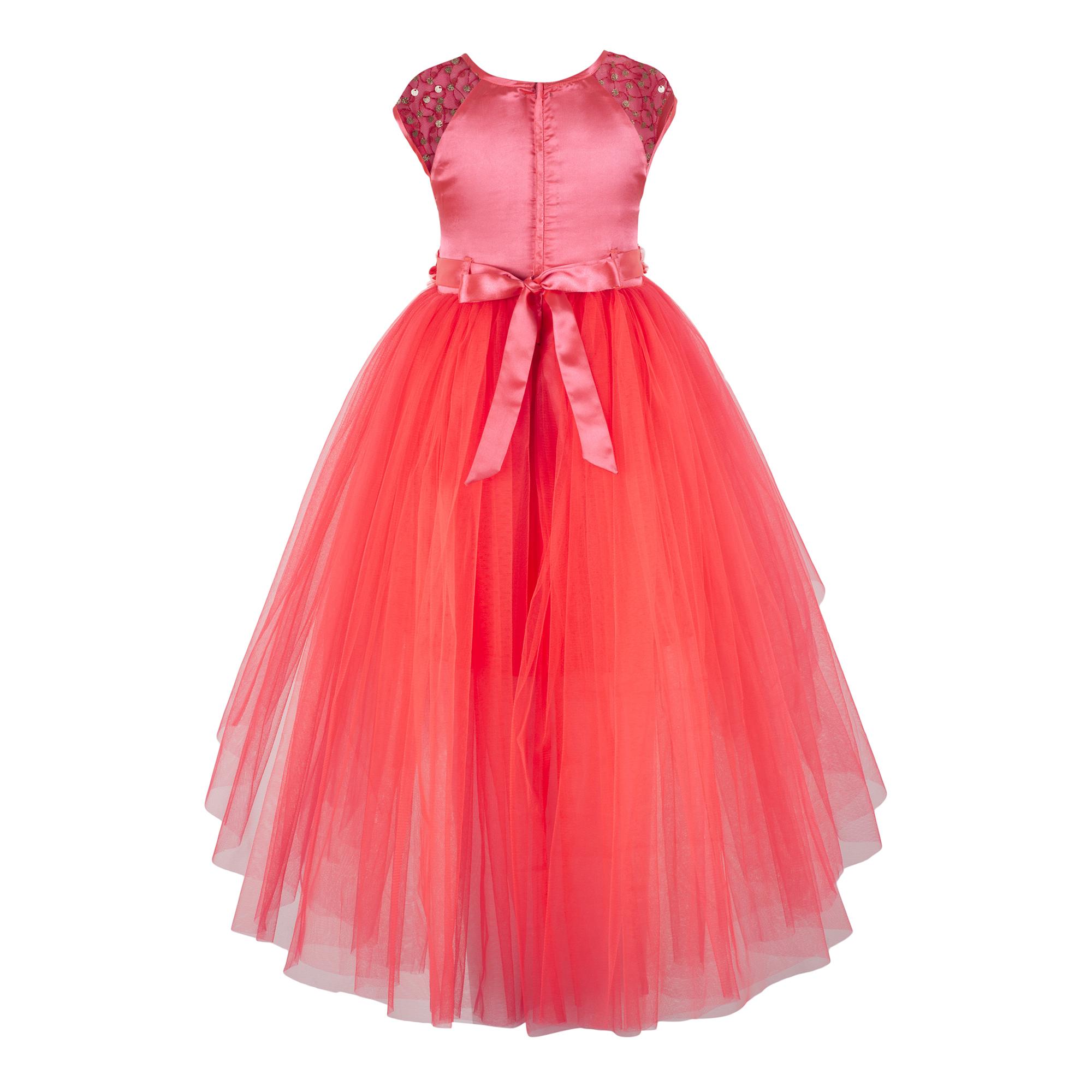 Sequins Embellished Orange  Dress.