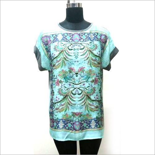 Printed Woven Silk  & Viscose Knit Tee