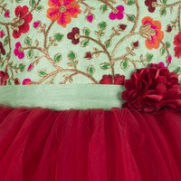 Floral Embroidered Maroon Hi-Low  Dress.