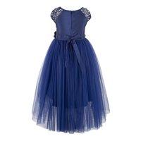 Embellished Blue Hi-low Girls  Dress
