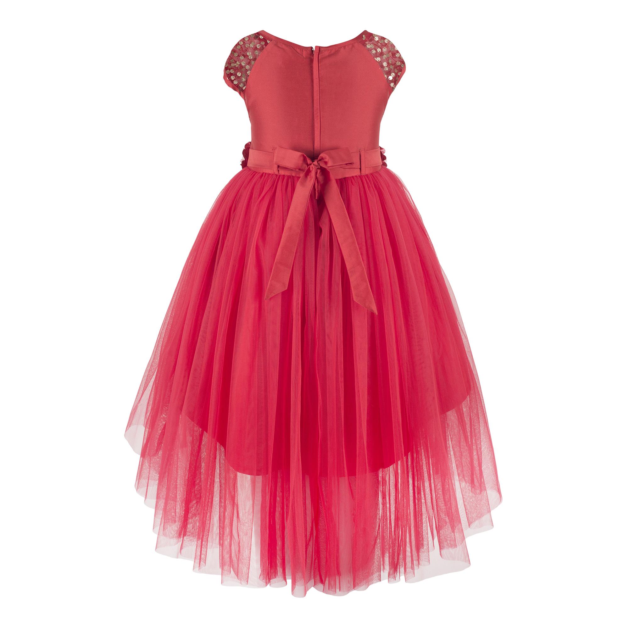 Embellished Red Hi-low Dress