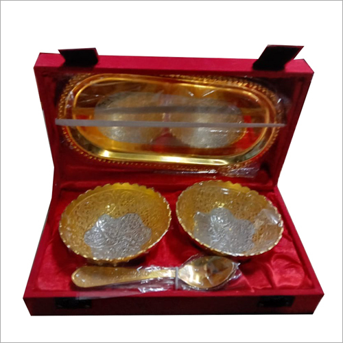 Silver And Gold Plated Brass Handicraft Beautiful Bowl Gift Set