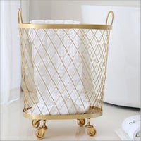 Round Gold Metal Mesh Laundry Basket
