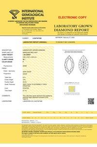 CVD Diamond 0.50ct F SI1 Marquise Shape IGI Certified Stone TYPE2A