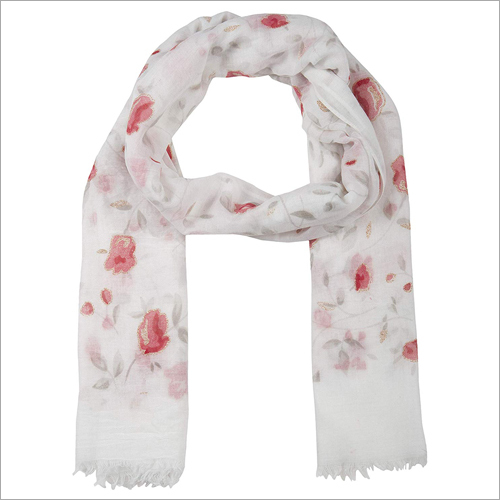Cotton Floral Printed Scarf