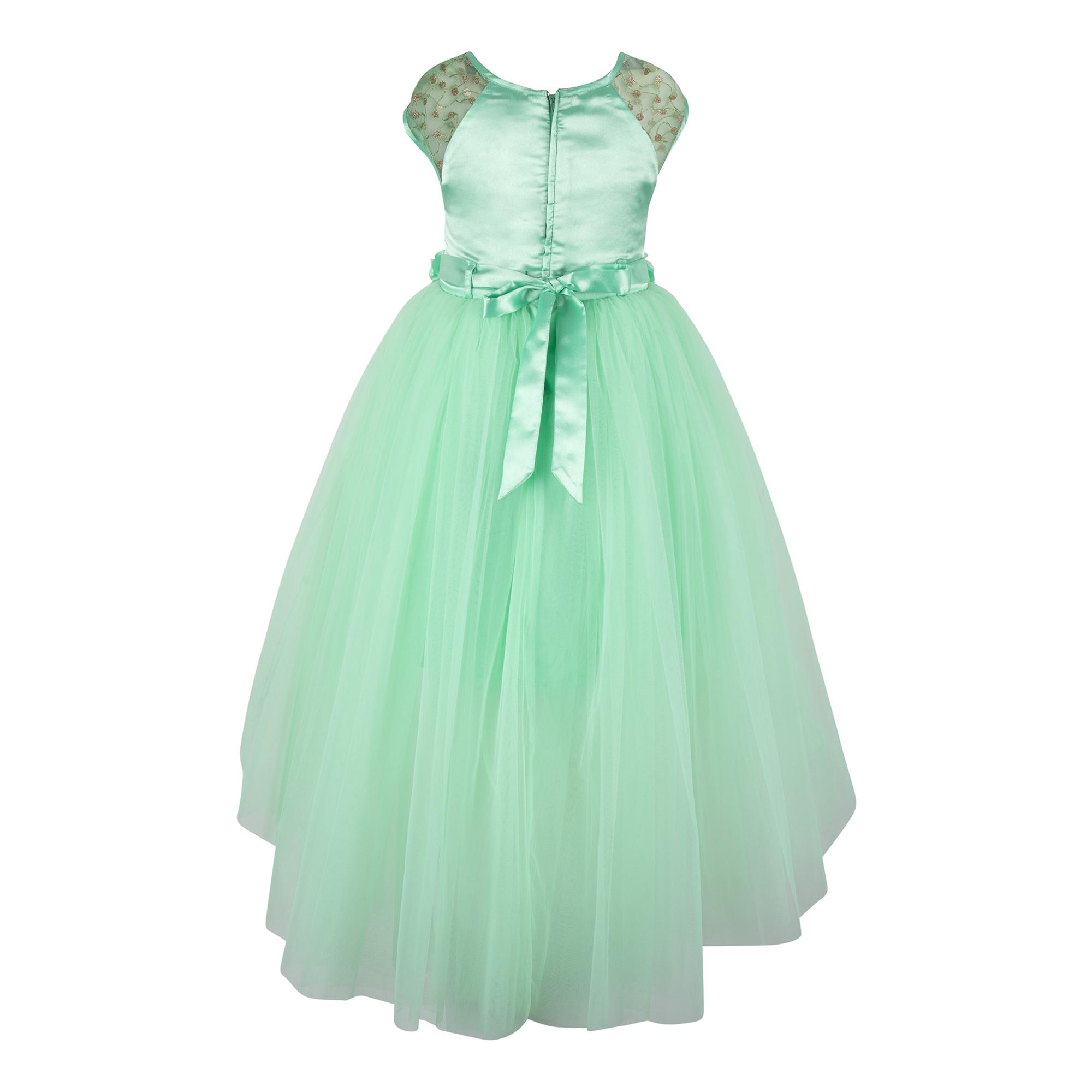 Embellished Sea Green Hi-low Dress