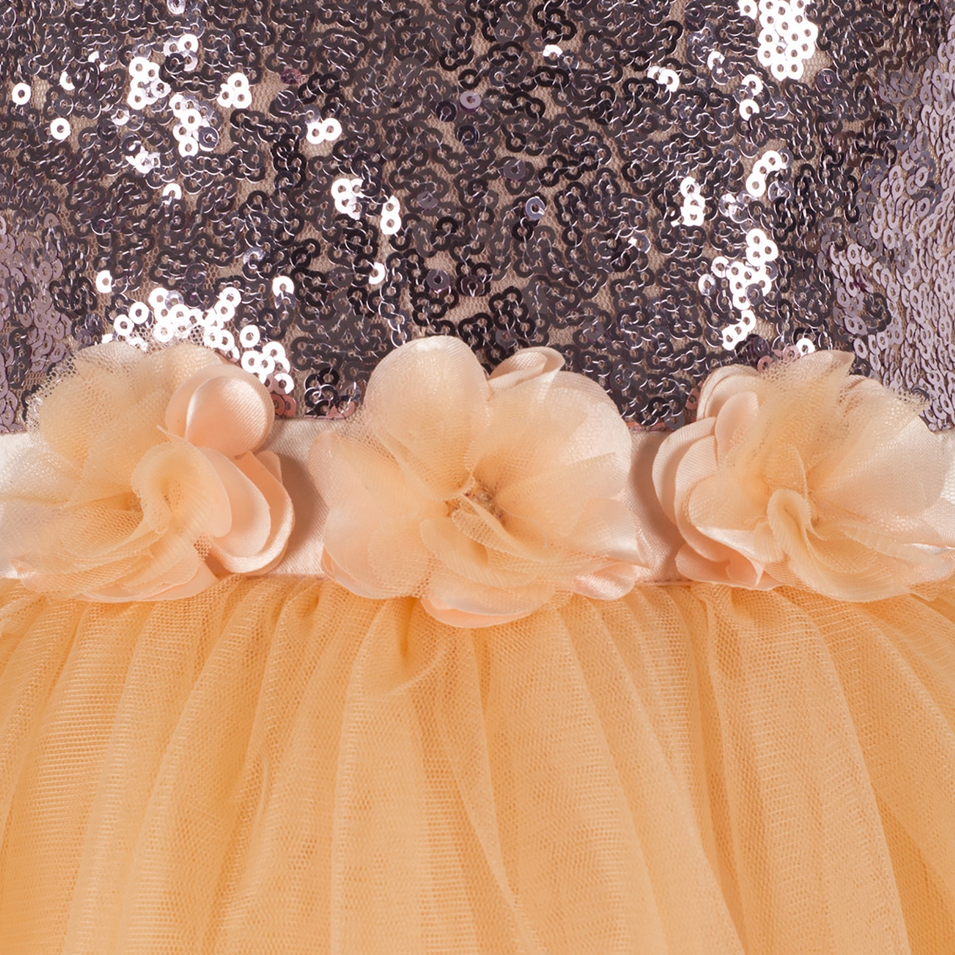 Embellished Golden Knee Length Party Frock