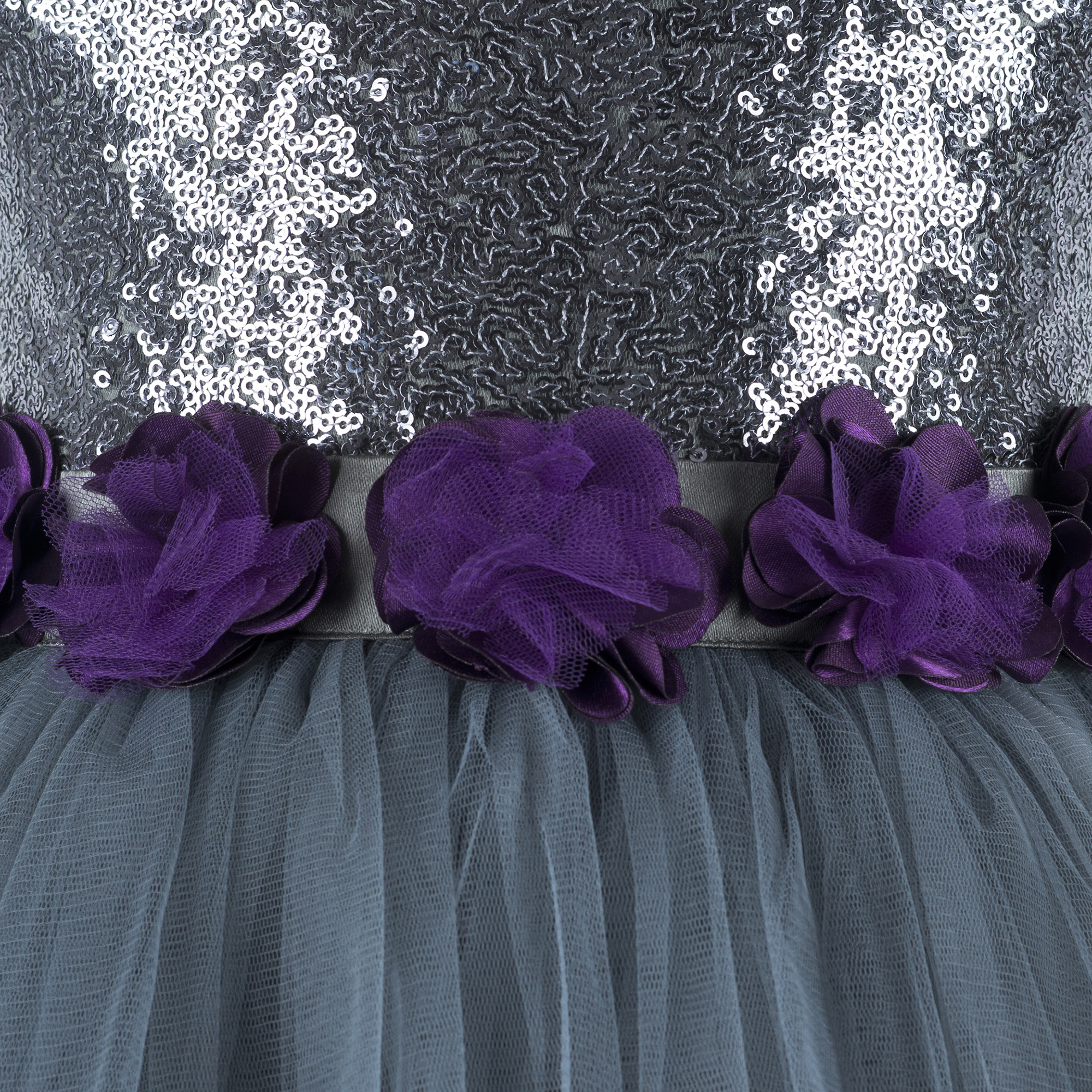 Sequins Embellished Grey Knee Length Party Frock