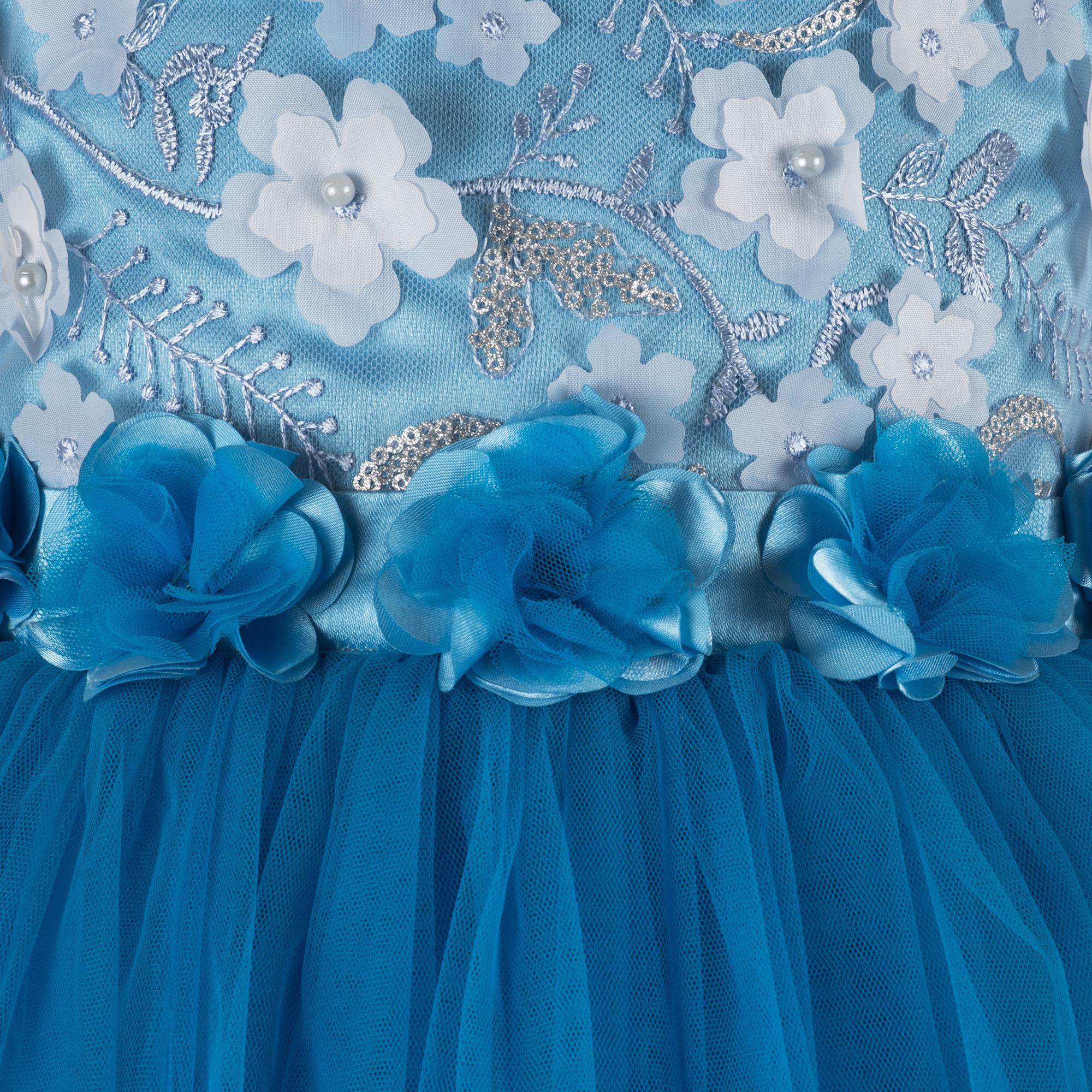 Flower bead Applique Sky Blue Frock