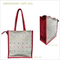Embroidered Jute Lunch Bag
