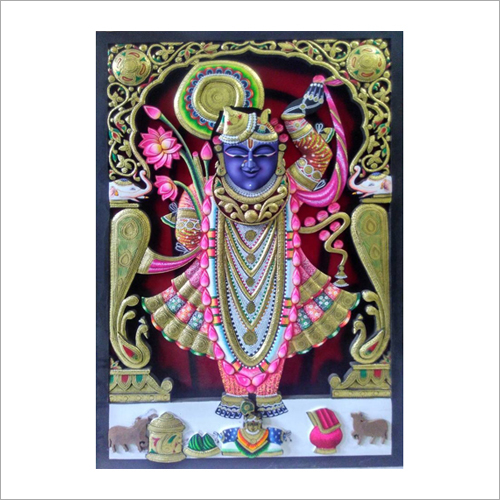 Wood Craving shreenathji Painting