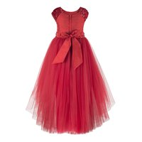 Floral Embroidered Red Girls Hi-low Dress