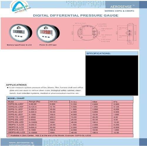 Aerosense Digital Differential Pressure Gauge Series CDPG & CBDPG