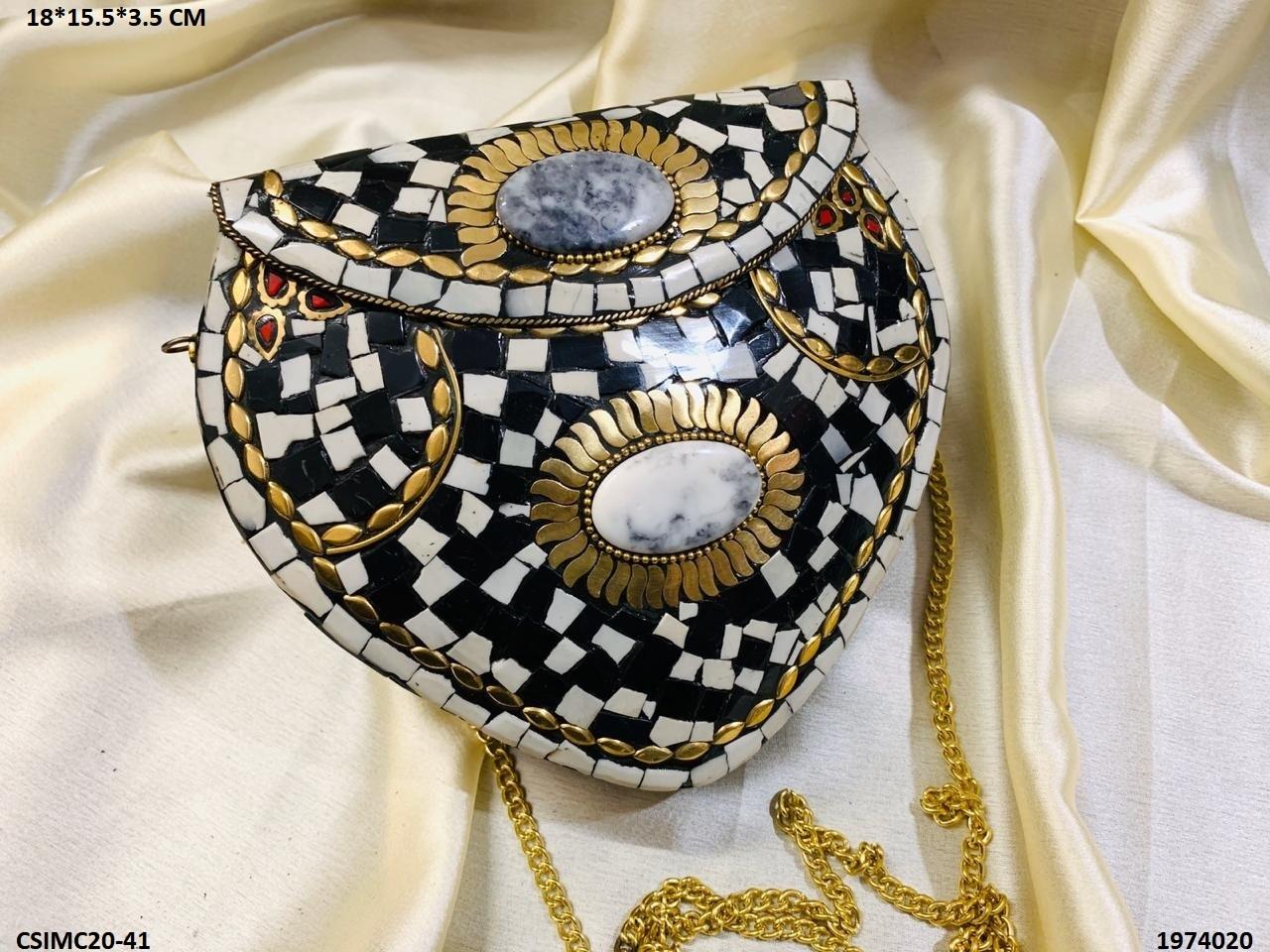Handmade Heart Mosaic stone Clutch