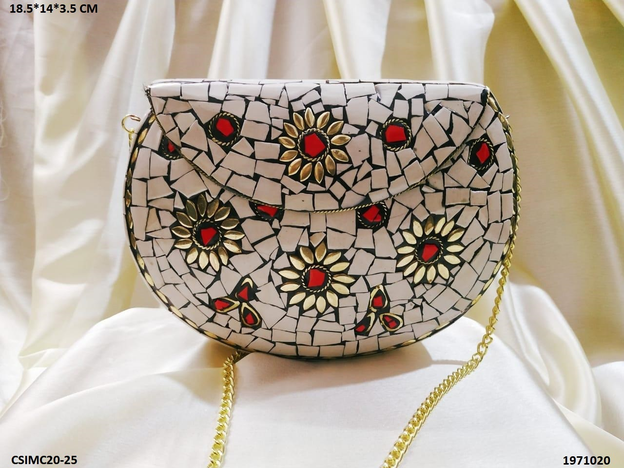 Colorful Stone Mosaic Clutch Bag