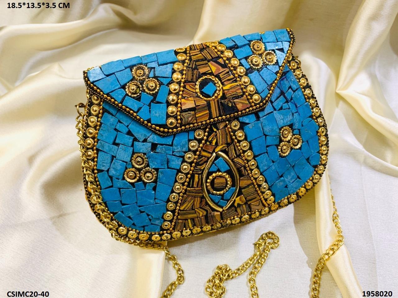 Antique Mosaic Metal Clutch Bag