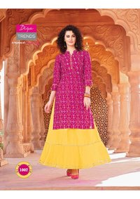 Bandhani Print Kurti With Plazzo,pant,skirt & Sharara