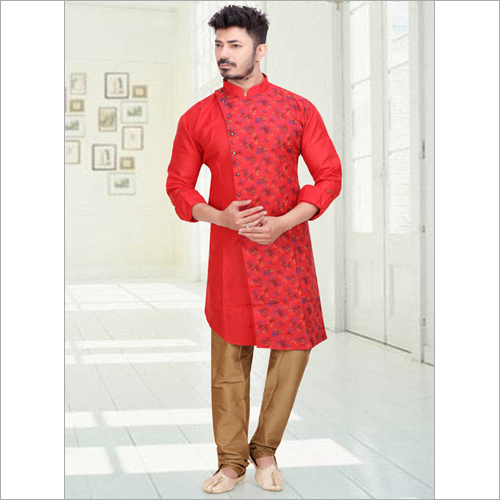 Raw Silk Printed Kurta Set