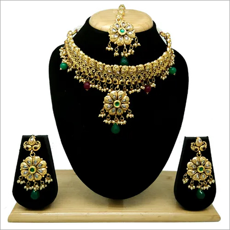 Immitation Jewellery Antique AD Necklace Set