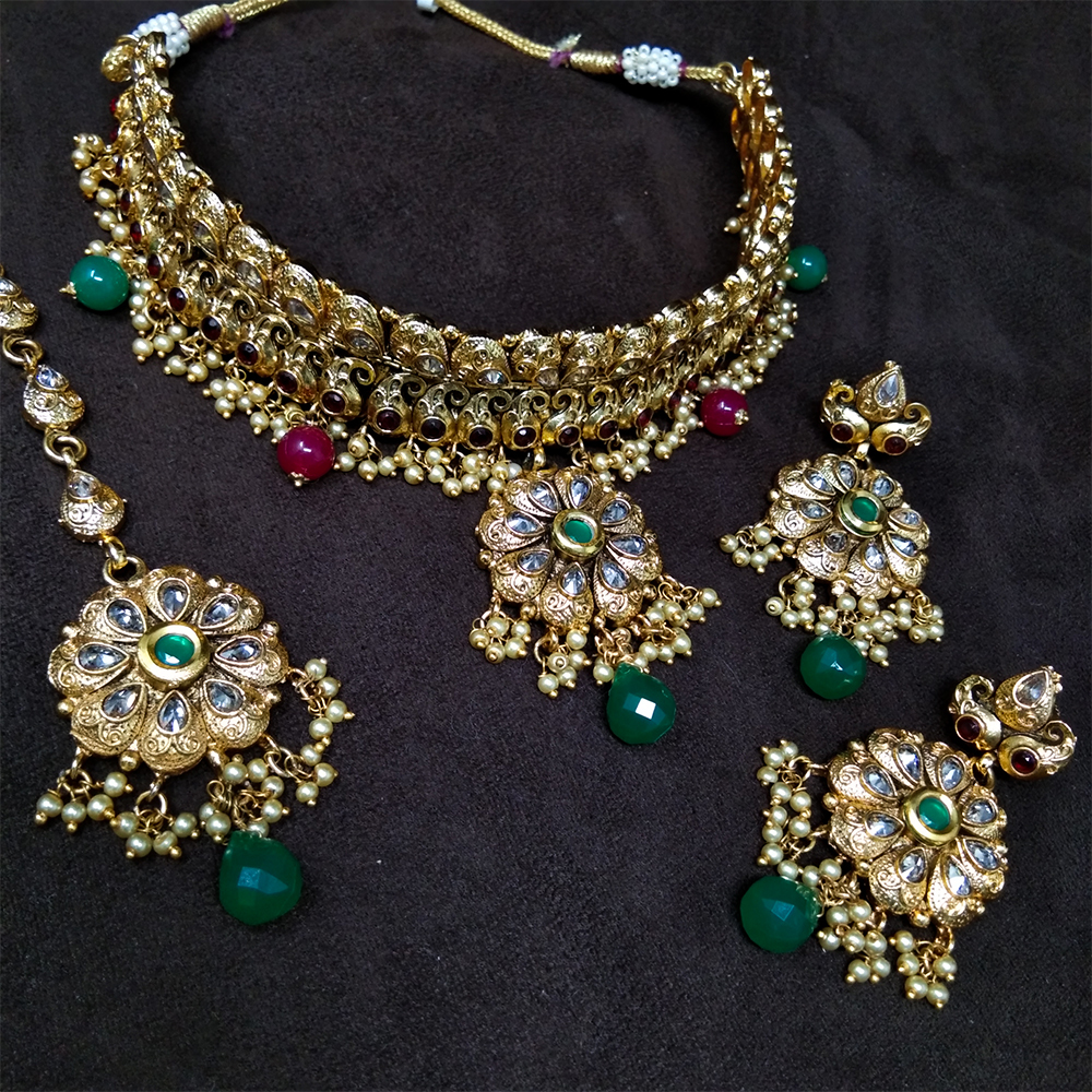 Immitation Jewellery Antique AD Necklace Set