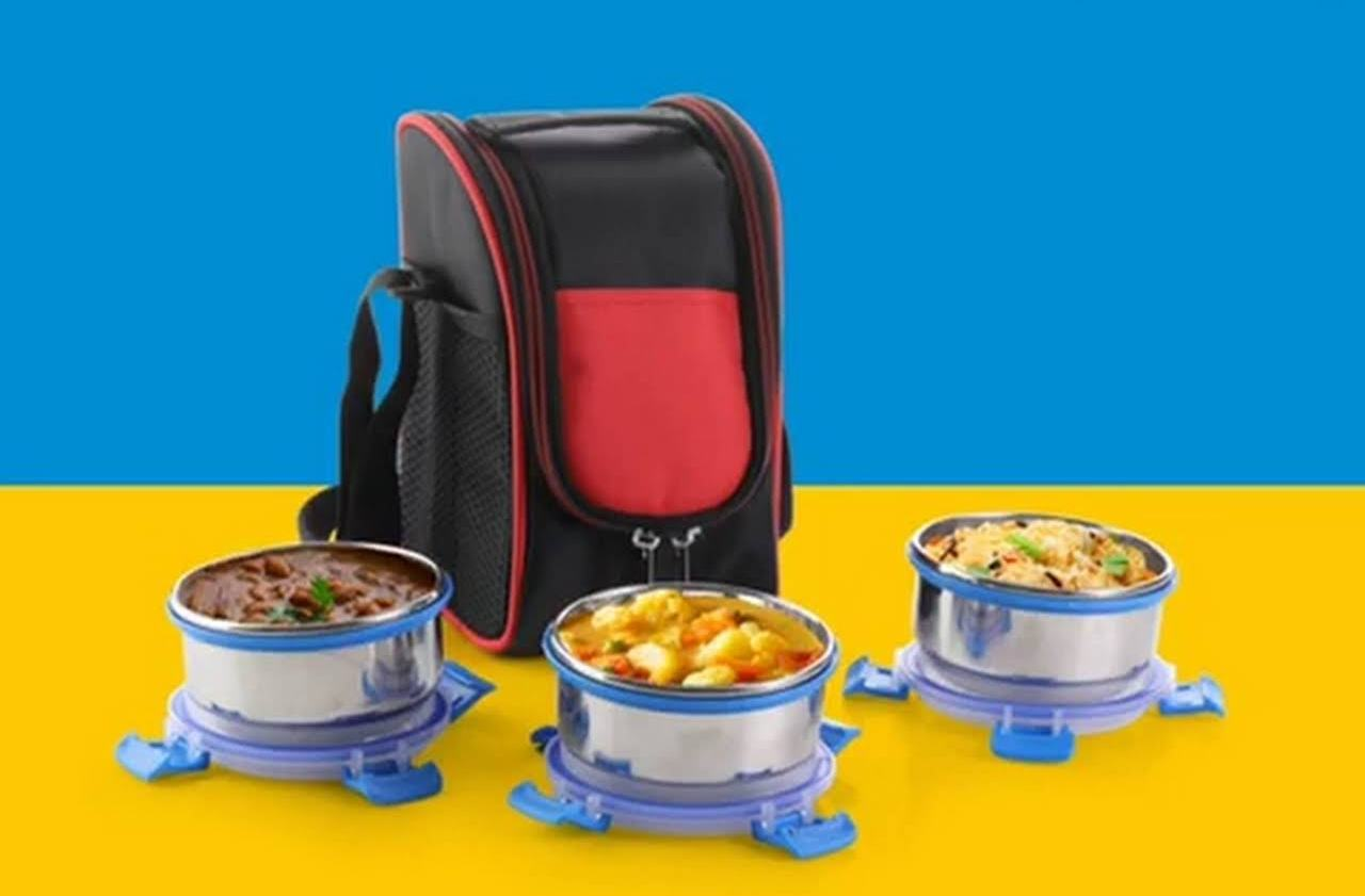 Smart Lock 3 Steel Containers Lunch Box In Long  Shoulder Bag