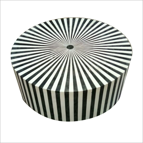Black And White Modern Bone Inlay Table