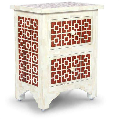 Rectangular Bone Inlay Bedside Chest Table
