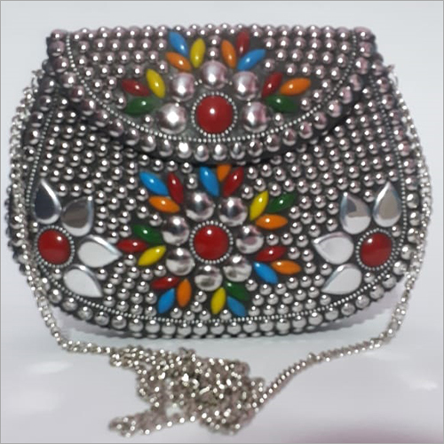 Antique Indian Ethnic Metal Clutch Bag
