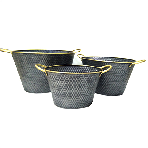 Textured Planters With Handles