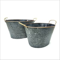 Copper Finish Zinc Planters With Rope