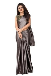Pavitra Satin Saree With Attached Jaguard Blouse