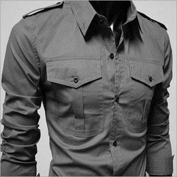 Double Pocket Cargo Plain Shirt