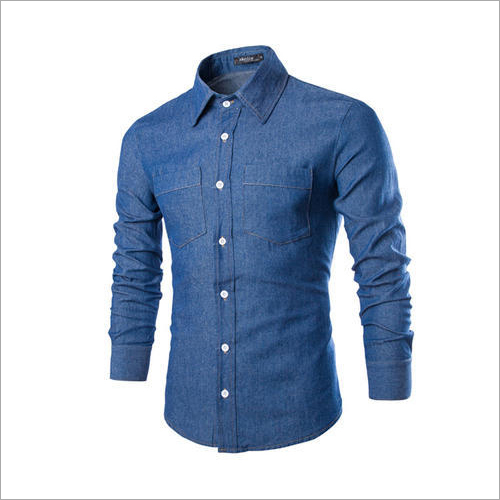 Cotton Denim Blue Formal Shirt