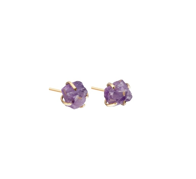 Tiny Raw Birthstone Prong Set Stud Earrings