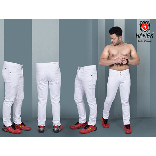 Mens Denim White Jeans